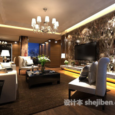 混搭风格客厅电视墙3d模型下载