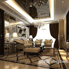 现代风格客厅整体3d模型下载