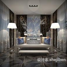 现代客厅3d模型下载