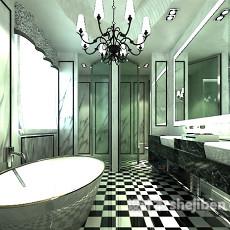 欧式卫生间吊灯3d模型下载