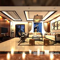 新中式客厅沙发3d模型下载