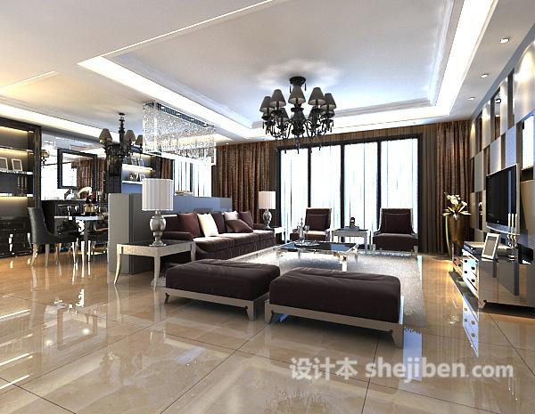 现代客厅吊顶3d模型