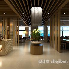餐厅木质吊顶3d模型下载