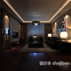 简约客厅3d模型下载