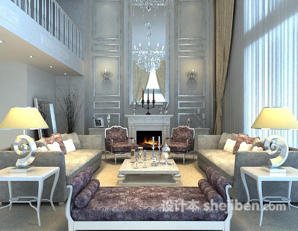 欧式客厅壁炉3d模型