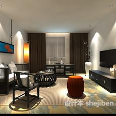max简约客厅3d模型下载