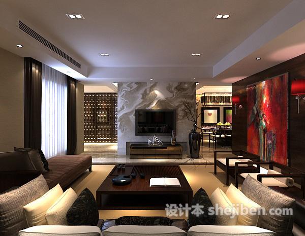 新中式客厅隔断3d模型