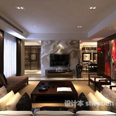 新中式客厅隔断3d模型下载