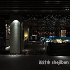 工装餐厅大厅3d模型下载