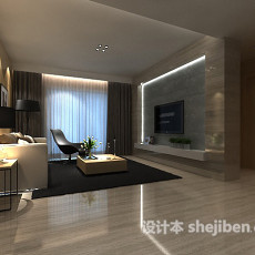 简约客厅整体3d模型下载