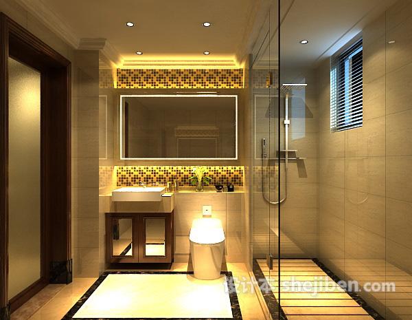 卫生间玻璃门3d模型