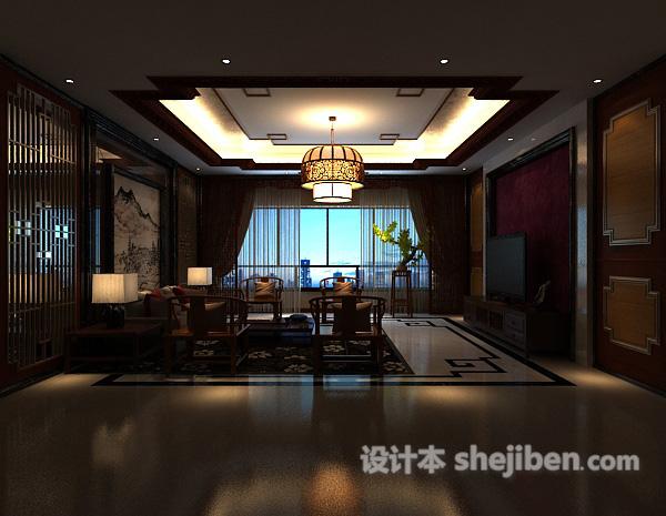 新中式吊顶吊灯模型