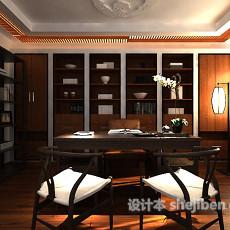 中式风格书房3d模型下载