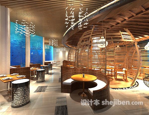 工装餐厅木质吊顶模型