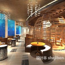 工装餐厅木质吊顶3d模型下载