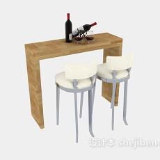 家庭小型吧台桌椅3d模型下载