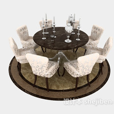 欧式八人餐桌3d模型下载