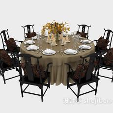 中式八人餐桌3d模型下载