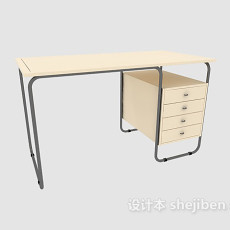 浅色办公桌3d模型下载