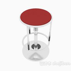 红色现代凳子3d模型下载