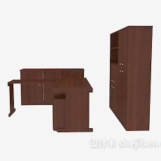 实木办公桌、文件储柜3d模型下载