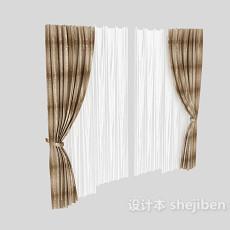 灰色花纹窗帘3d模型下载