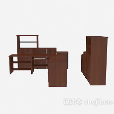 棕色办公桌、文件储柜3d模型下载