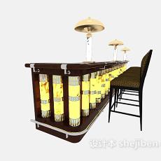 豪华酒吧吧台桌椅3d模型下载