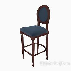 美式实木高脚椅3d模型下载