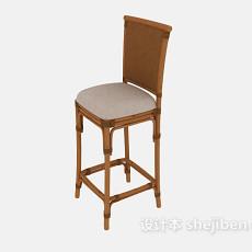 简约实木高脚椅3d模型下载