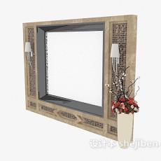 中式实木电视墙3d模型下载