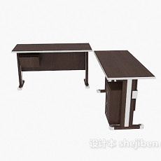 实木办公接待桌3d模型下载