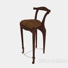 美式精致高脚椅子3d模型下载