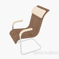 棕色实木休闲椅子3d模型下载
