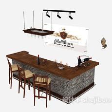 清吧吧台桌椅3d模型下载