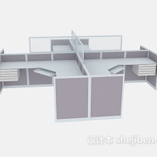 组合办公桌单元3d模型下载