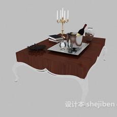 客厅白色沙发边桌3d模型下载