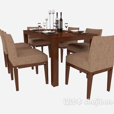 实木家居餐桌餐椅3d模型下载