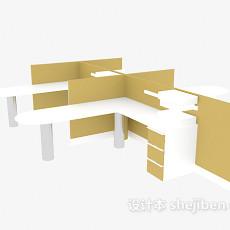 间隔办公桌3d模型下载