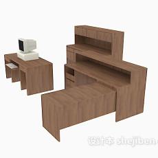 棕色实木办公单元3d模型下载
