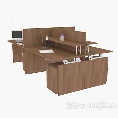 实木组合办公区域3d模型下载