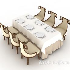 时尚六人餐桌3d模型下载
