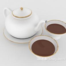 白色瓷器茶壶3d模型下载