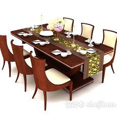 实木六人餐桌3d模型下载