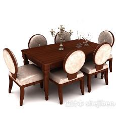 美式家庭六人餐桌3d模型下载