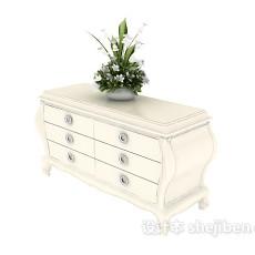 白色装饰厅柜3d模型下载