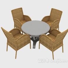 现代藤椅桌椅组合3d模型下载