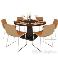 六人现代餐桌3d模型下载