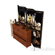 中式风格厅柜、屏风3d模型下载