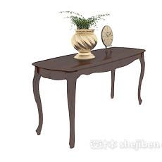 欧式装饰棕色边桌3d模型下载